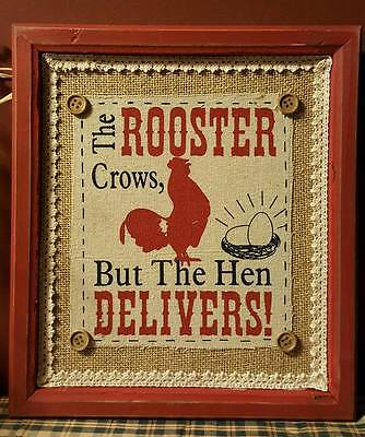 "The Rooster Crows ~ Red Framed Burlap & Muslin Print~ 10"" X 11"""
