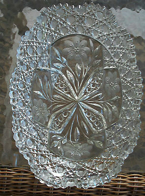 Elegant Glass Bowl Etched Flowers Buttons Sawtooth unknown Design ENGLISH?
