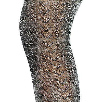 New Womens Ladies Silver Glitter Glittery Sparkly Tights Pantyhose Party Size