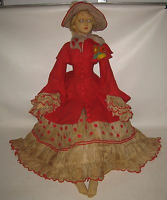 "Gorgeous 1920's Lenci Woman in Red Cloth Doll Store Display 42"" Tall VERY RARE !"