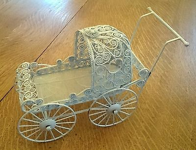 """White wire miniature doll stroller carriage buggy Very Nice and ornate 10"""""""