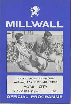 1965-Millwall V York City Football League Cup 2Nd Round Programme