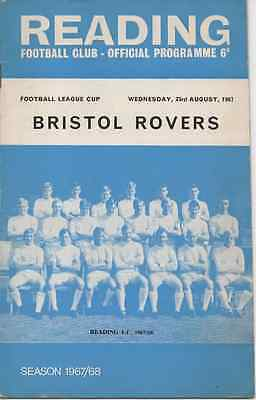 1967-Reading V Bristol Rovers Football League Cup 1St Round Programme
