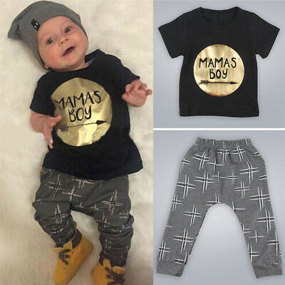2PCS Newborn Toddler Infant Baby Kids Boy Clothes T-shirt Tops+Pants Outfits Set