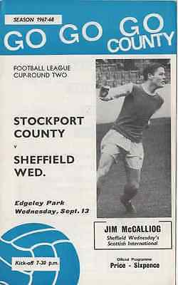 1967-1968-Stockport County V Sheff Wed Football League Cup 2Nd Round Programme