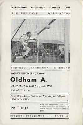 1967-Workington V Oldham Athletic-Football League Cup 1St Round Programme