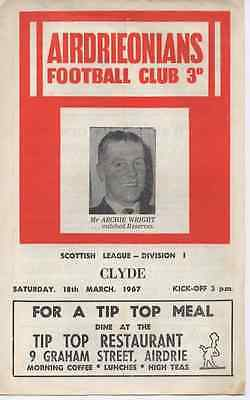 1967-Airdrie-Airdrieonians V Clyde-Scottish Football League Division 1 Programme