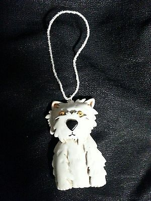 Wooden Carved White  Westie Canine Dog Ornament on beaded wire