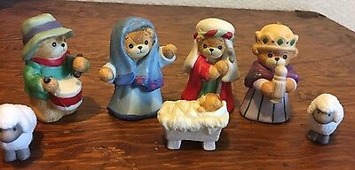 Lucy Rigg Lucy And Me Nativity Porcelain Figurines Enesco Teddy Bear Christmas