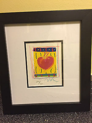 "Heart Series VI, Limited Edition Framed Lithograph 5""x4"" Peter Max SIGNED w/COA"