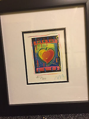"Heart Series V, Limited Edition Framed Lithograph 5""x4"" Peter Max SIGNED w/COA"
