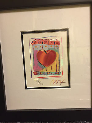 """Heart Series II, Limited Edition Framed Lithograph 5""""x4"""" Peter Max SIGNED w/COA"""