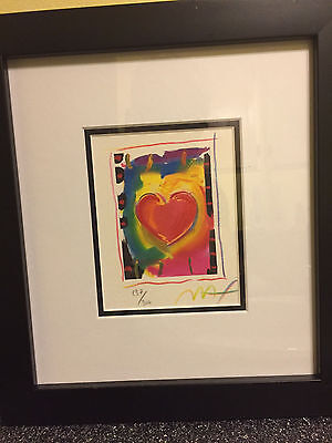 """Heart Series I, Limited Edition Framed Lithograph 5""""x4"""" Peter Max SIGNED w/COA"""