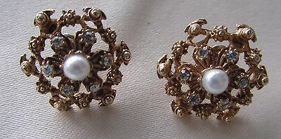 Vintage gold tone Florenza pin earrings with rhinestones and faux pearl