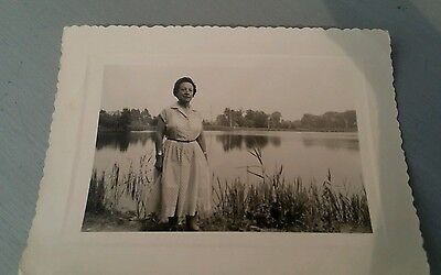 French Vintage Photograph Lady by the Lake
