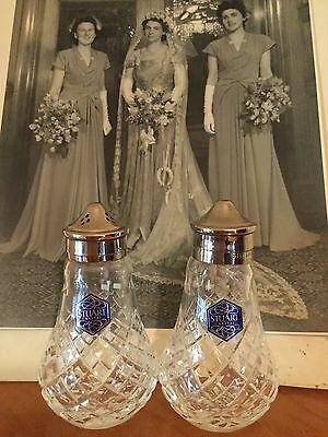 Beautiful ANTIQUE VINTAGE STUART CRYSTAL SALT & PEPPER SHAKERS WITH SILVERPLATE