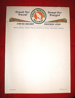 Vintage GREAT NORTHERN RAILWAY Notepad - 1940's or 50's ?? - Rare Estate Find...