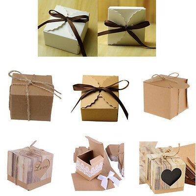 50Pcs New Rustic Kraft Paper Sweets Candy Gift Boxes Wedding Party Gift Favor