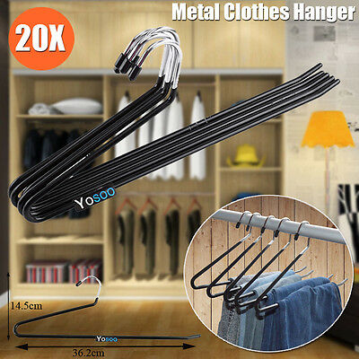 20PCS Metal Clothes Hanger Non Slip Pants Trousers Ties Towels Closet Organizer