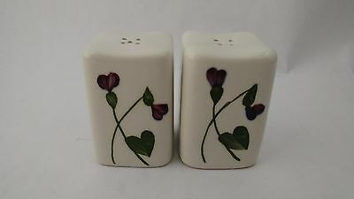 """California Pottery Orchard Ware Violets 2 1/2"""" Salt & Pepper Shakers"""