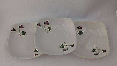 """California Pottery Orchard Ware Violets Set of Three 4 7/8"""" Fruit Bowls"""