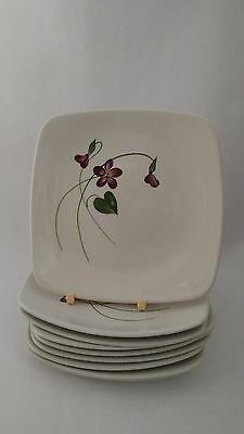 """California Pottery Orchard Ware Violets Set of Nine 5 3/4"""" Bread & Butter Plates"""