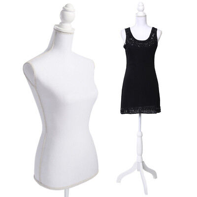 Retail Display Female Mannequin Torso Dress Form Display W/ White Tripod Stand