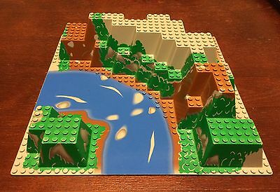 LEGO Raised Canyon Base Plate - 6584 Mountain River Green Brown - Extreme Team