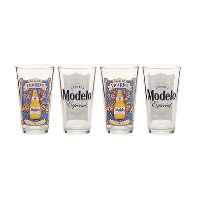 New 4 Modelo Especial Glasses Day Of The Dead Beer Glass Pint Bar 2 Sided Design