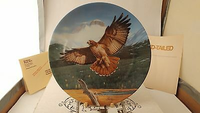 "Knowles The Red Tailed Hawk The Majestic Birds Collector Plate 8 5/8"" Box Papers"