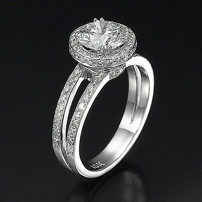 Real 14K White Gold Round Cut Enhanced Diamond Engagement Ring 1.45 CT D/VS1
