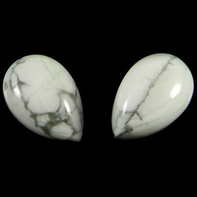 1 Pair Natural Howlite Gemstone 10x15mm Pear Cab 14.5 cts Stones ER4171