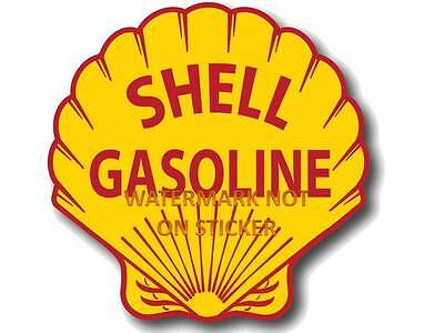 VINTAGE SHELL GASOLINE PETROL DECAL STICKER LABEL LARGE 240mm DIA HOT ROD