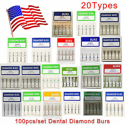 100 pcs/set Dental Diamond Burs For High Speed Handpiece Medium FG 1.6mm USA HOT