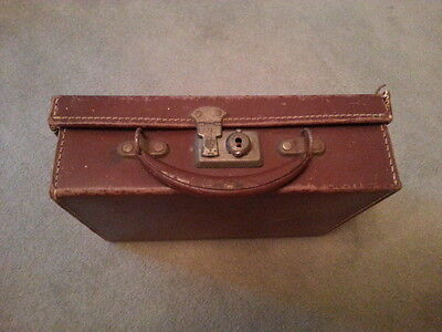 Very unusual Child's Vintage Leather Covered Suitcase with Leather Handle