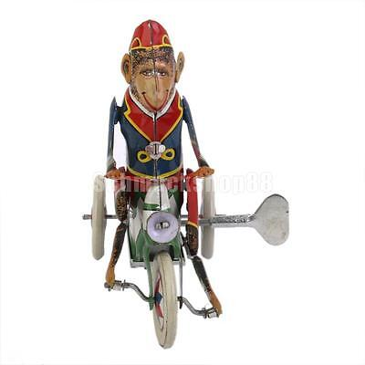 Retro Wind Up Monkey Riding a Car Clockwork Metal Tin Toys Collectible Gifts