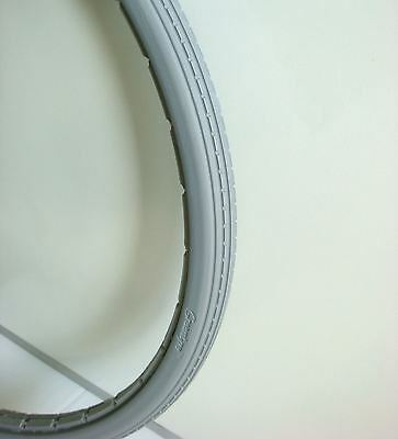 """Solid 24"""" x 1 3/8"""" Grey Wheelchair Tyre 37-540 puncture free"""