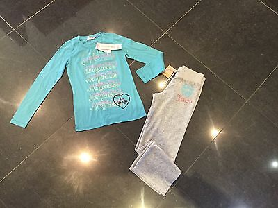 NWT Juicy Couture New Gen. Girls Age 8 Grey Velour Pants & T-Shirt With Logo
