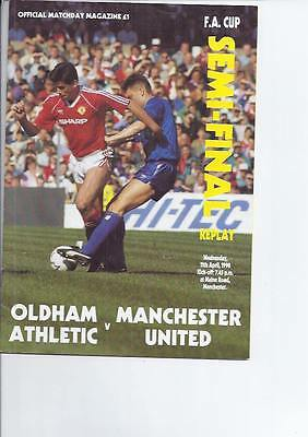 FA CUP SEMI FINAL REPLAY Oldham v Manchester United @ Manchester City 1990