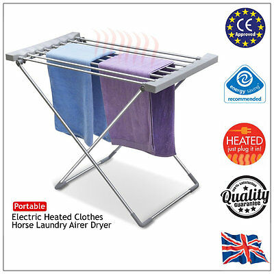 Energy Efficent 120w Electric Heated Clothes Horse Dryer Folding Laundry Airer