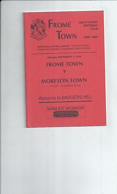 Frome Town v Moreton Town FA Cup Football Programme 1993/94