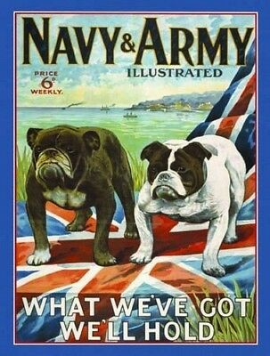 New 15x20cm Army & Navy bulldog reproduction vintage metal advertising wall sign