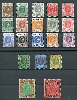 Leeward Islands KGVI 1938-51 set of 19 + die  SG95/114b LMM