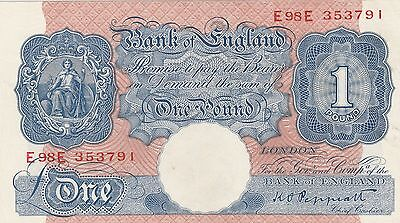 1940 Blue One Pound War Time Emergency Banknote stunning note.