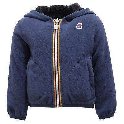 5293R giubbotto K-WAY JAQUES FUR BONDEN DOUBLE felpa orsetto blu jacket kid