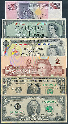 World: 1955-1997 COLLECTION of 12 SCARCE British Colonial & U.S. $1 & $2 notes