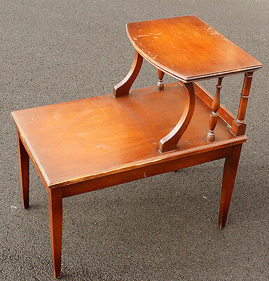 """Vintage """"Imperial"""" Solid Wood Wooden Mahogany Side Corner End Accent Table Shelf"""