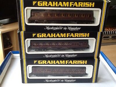 GRAHAM FARISH RAKE OF 3 N GAUGE PASSENGER CARRIAGES No 0616 / 0636 /0626  BOXED