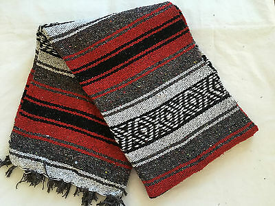"""Authentic Red Mexican Falsa Blanket Hand Woven Yoga Mat Blanket 72""""x 54"""""""