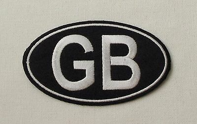 GB Great Britain Black Iron sew on embroidered patch retro racing